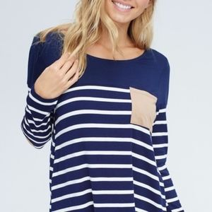 Suede Patch Blue and White Top Sizes S, M and L